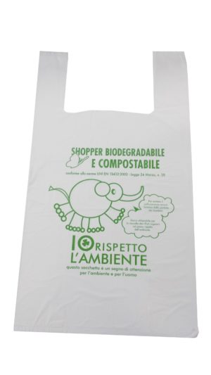 SHOPPER BIODEGRADABILI CON MANICI